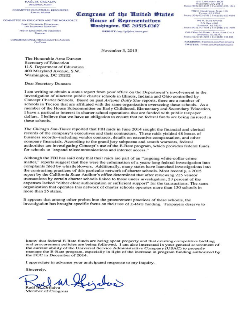 Letter From Rep. Raul Grijalva regarding Gulen schools